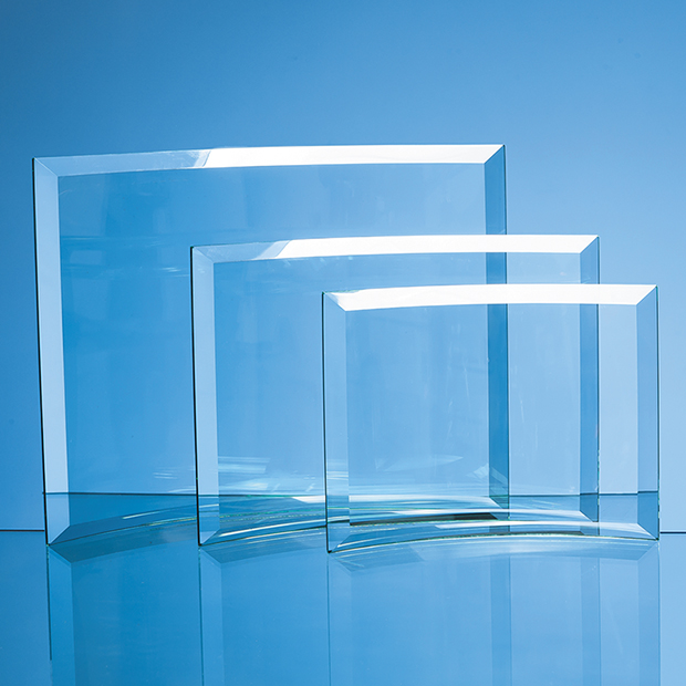 22.5cm x 29cm x 1cm Jade Glass Bevelled Crescent