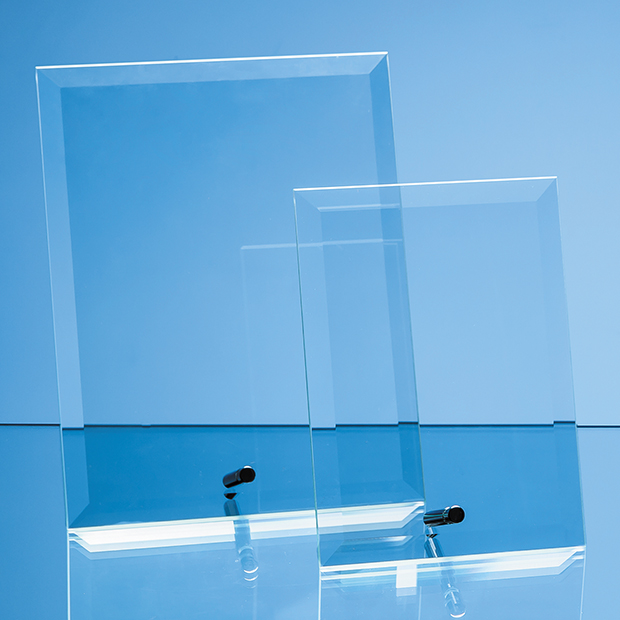 18cm x 12.5cm Bevelled Glass Rectangle with Chrome Pin