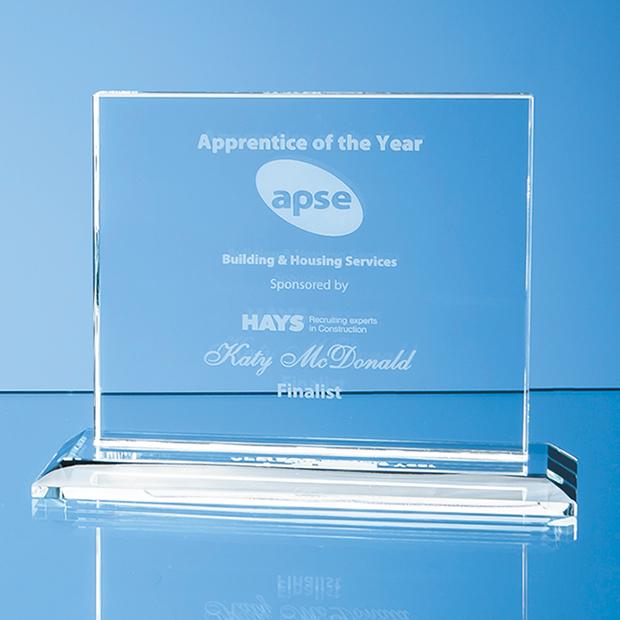 12.5cm x 15cm x 12mm Clear Glass Horizontal Rectangle Award