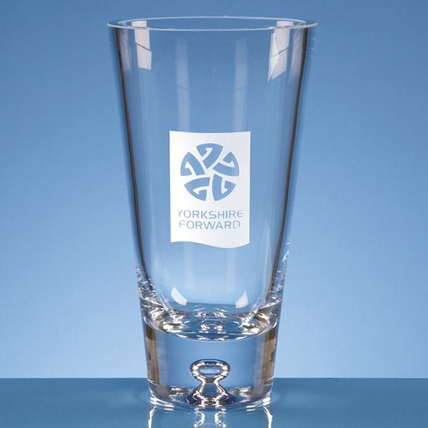 18cm Handmade Tapered Bubble Base Vase