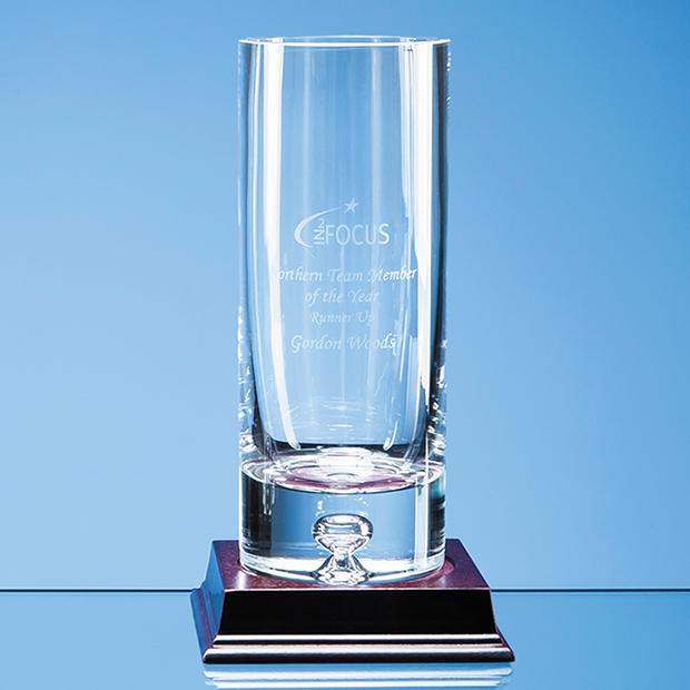 20cm Handmade Bubble Base Cylinder Vase