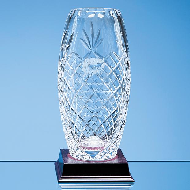 22.5cm Lead Crystal Panelled Oval Vase
