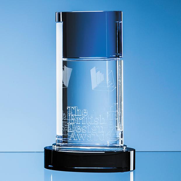 24cm Nik Meller Design Clear Optical Crystal & Cobalt Blue Seeq Oval Column Award