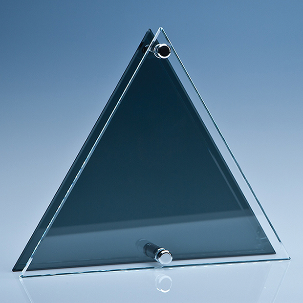 23cm Clear and Smoked Glass Triangle Plaque