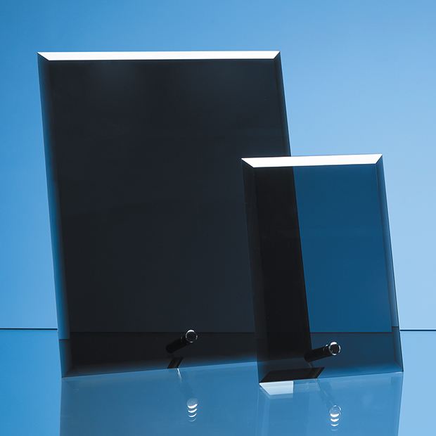 15cm x 10cm Smoked Black Glass Rectangle with Chrome Pin