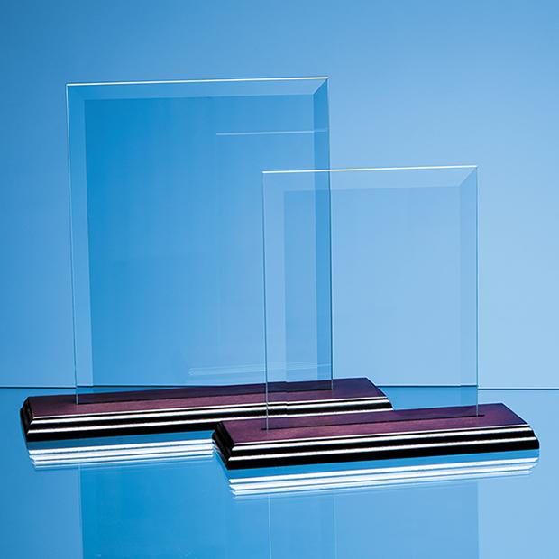 23cm x 18cm Bevelled Glass Rectangle on Wood Base