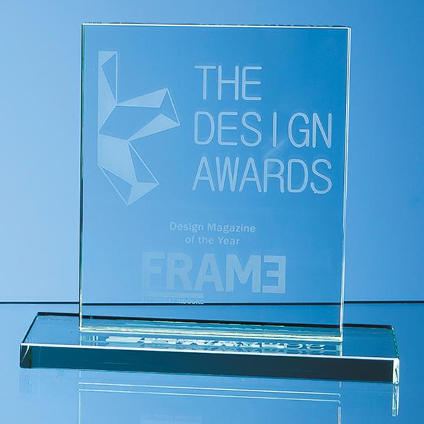 15cm x 12.5cm x 12mm Jade Glass Rectangle Award