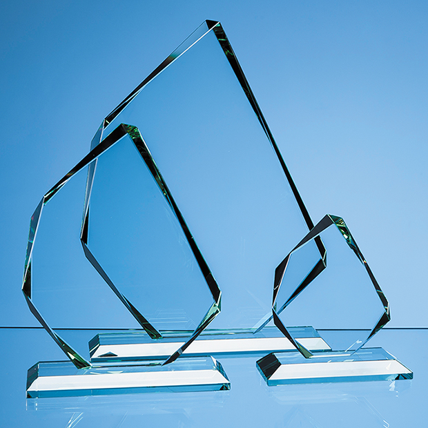 11.5cm x 15mm Jade Glass Facetted Ice Peak Award