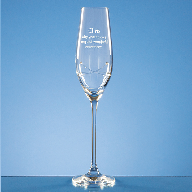 Single Diamante Champagne Flute with a Kiss Cut Design