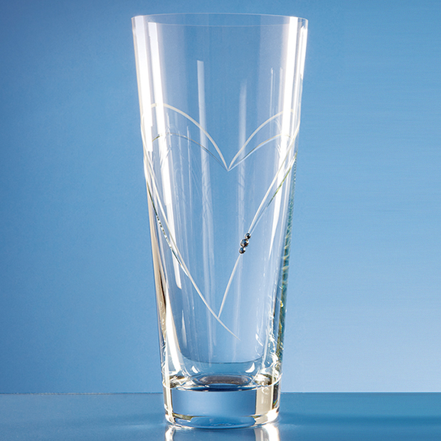 30cm Diamante Conical Vase with Heart Shaped Cutting