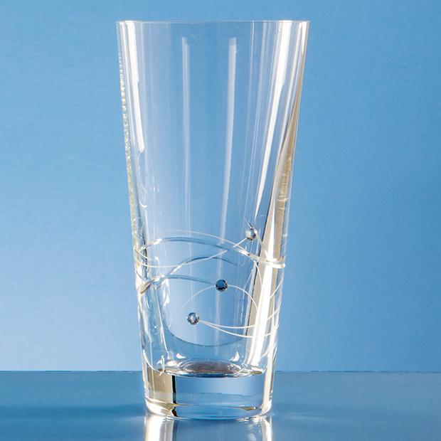 20cm Diamante Conical Vase with Spiral Design Cutting