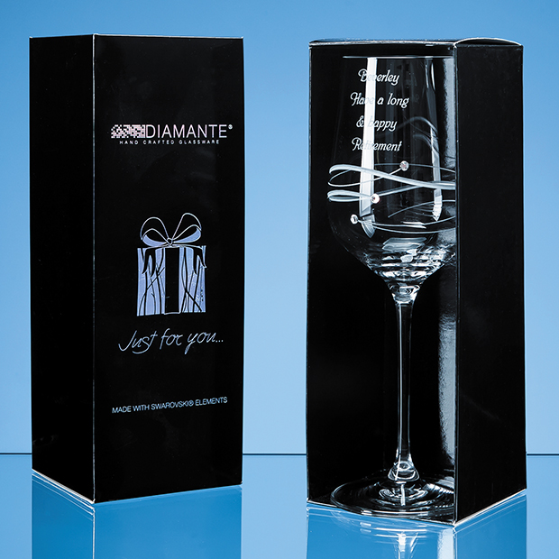 Just For You Diamante Wine Glass with Spiral Design Cutting in an attractive Gift Box