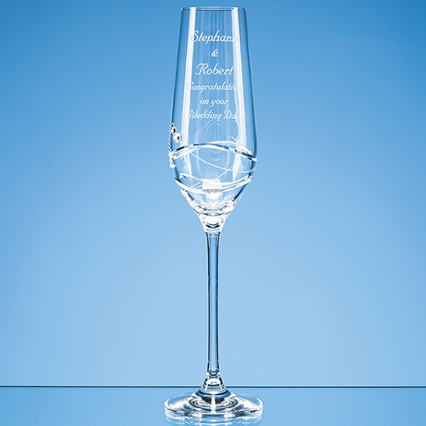 Single Diamante Champagne Flute with Modena Spiral Cutting