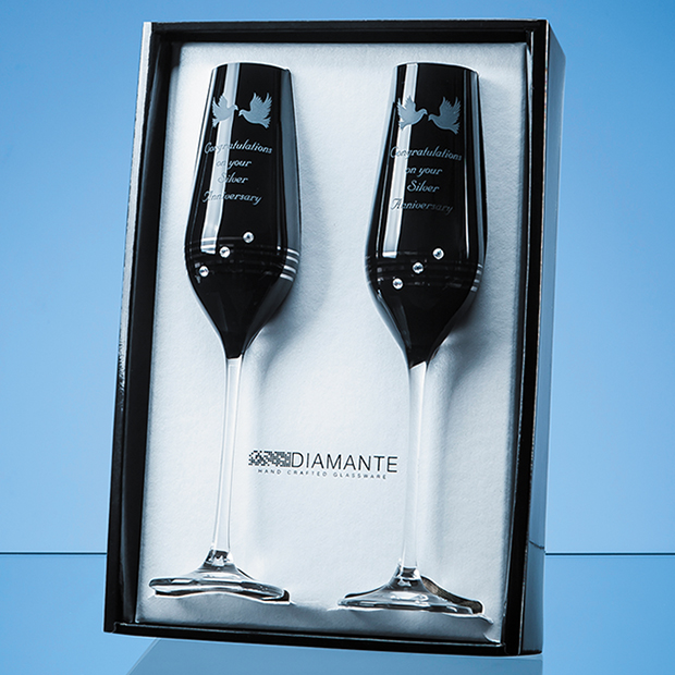 2 Onyx Black Diamante Champagne Flutes with Platinum Spiral Design in an attractive Gift Box
