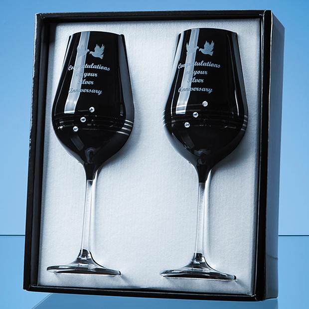 2 Onyx Black Diamante Wine Glasses with Platinum Spiral Design in an attractive Gift Box