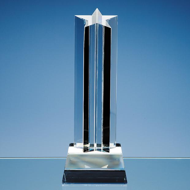 24cm Optical Crystal 5 Pointed Star Column Award