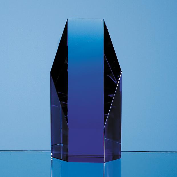12.5cm Sapphire Blue Optic Hexagon Award