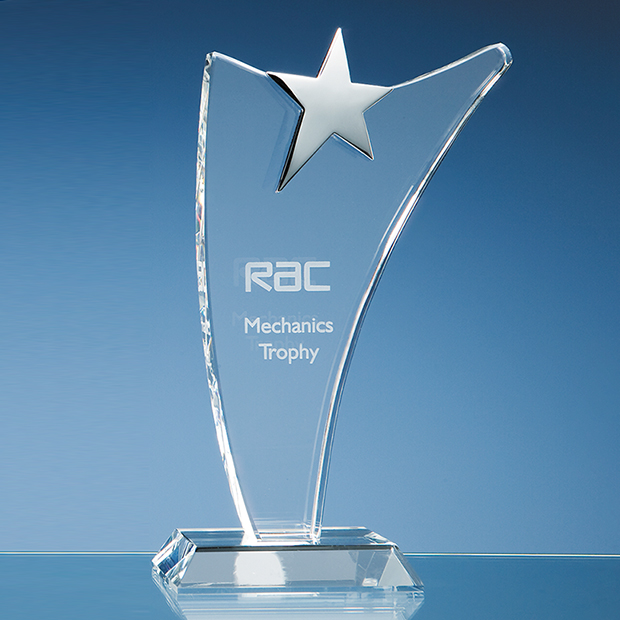 25cm Optical Crystal Swoop Award with Silver Star