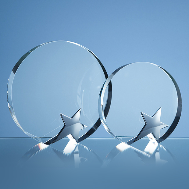 15cm Optical Crystal Circle Award with Silver Star