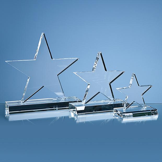 21cm Optical Crystal 5 Pointed Star on Base Award