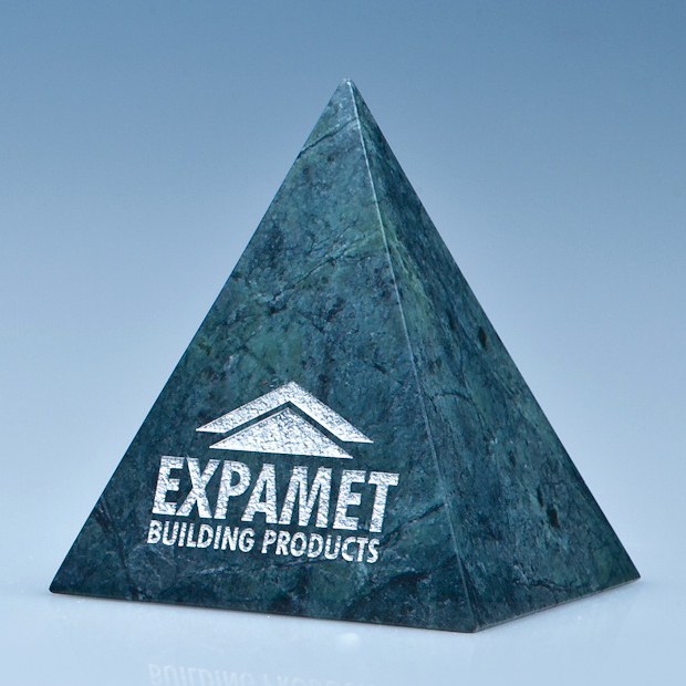 10cm Green Marble 4 Sided Pyramid Award*