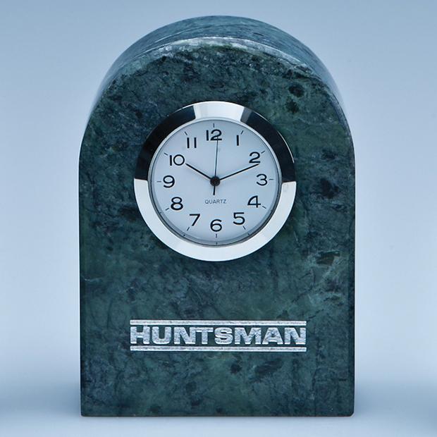 8.5cm Green Marble Bevel Edged Arch Clock*
