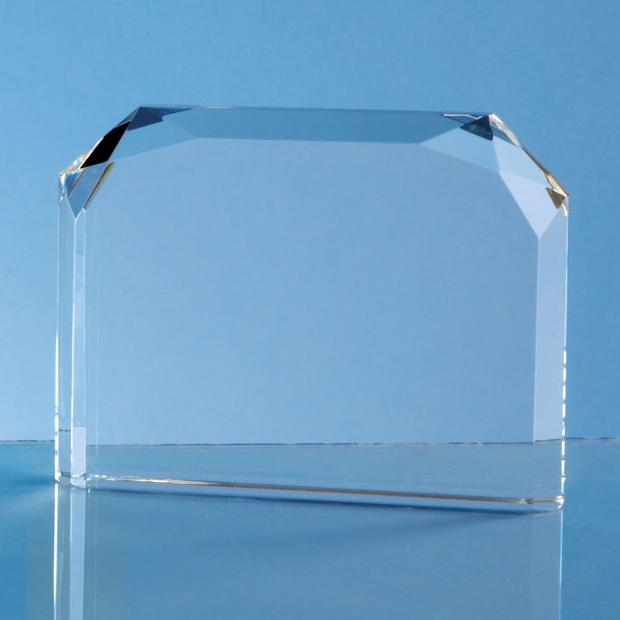 13cm Optical Crystal Horizontal Facet Rectangle Award