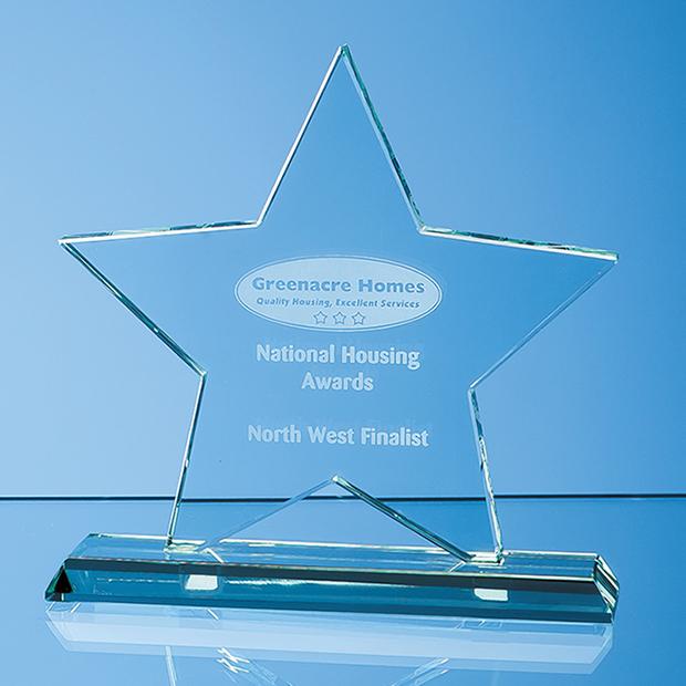 15cm x 12mm Jade Glass Star Award