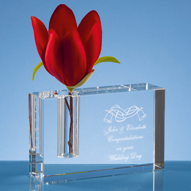 12cm Optical Crystal Rectangle Bud Vase