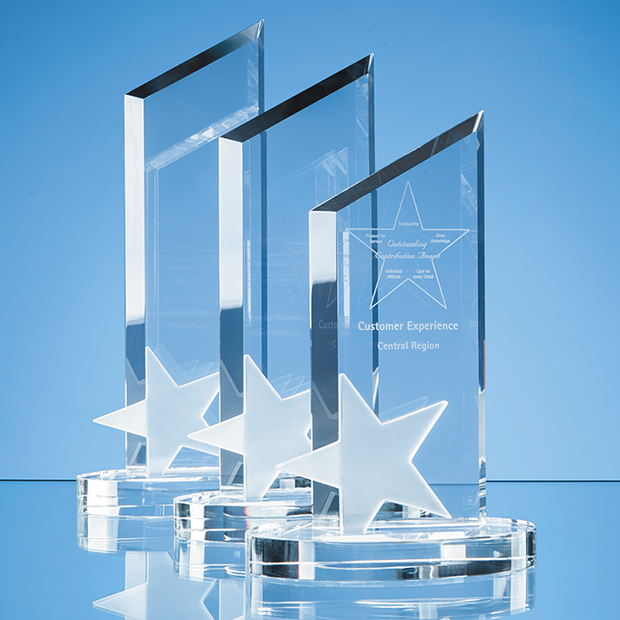 26cm Optical Crystal Peak with Frosted Star Award