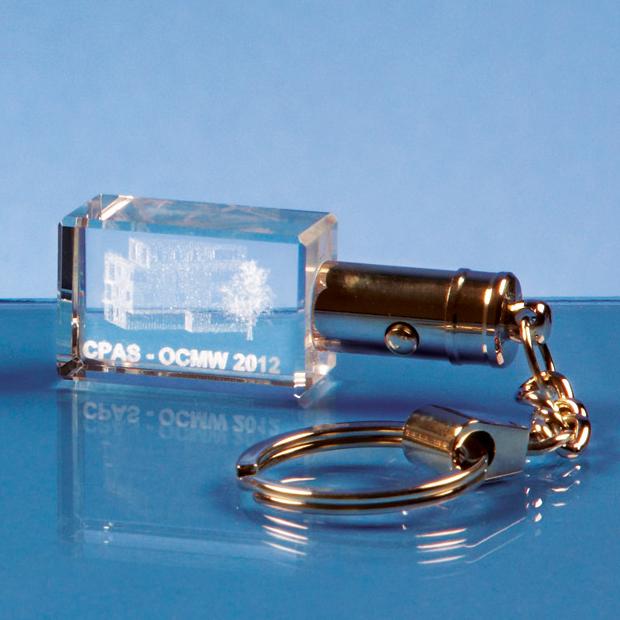 3cm Optical Crystal LED Keyring*