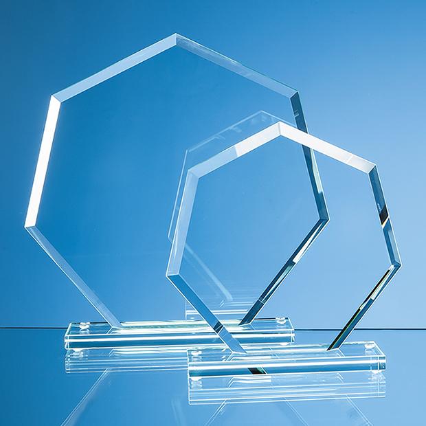 10cm x 10cm x 12mm Jade Glass Facet Heptagon Award