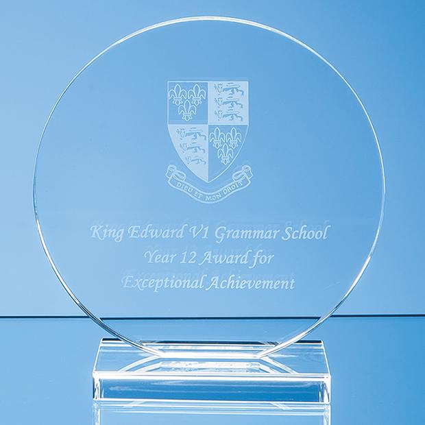 15cm x 12mm Clear Glass Circle Award