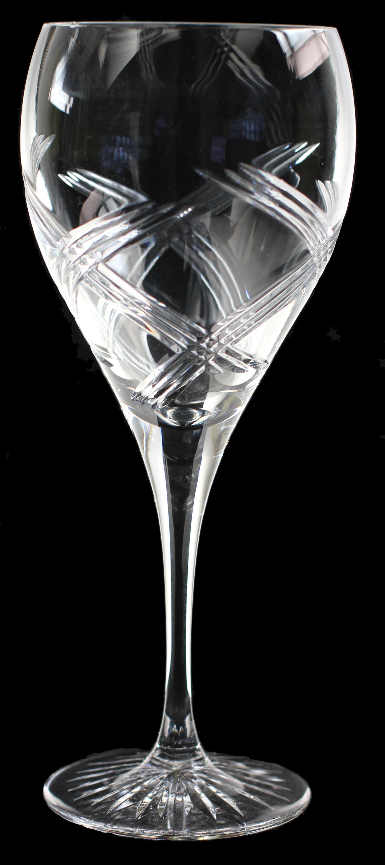 Elegant Large wine glass, hand cut crystal in celebration cut.