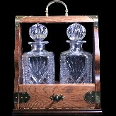 Westminster 2 Square Decanter Solid Oak Tantalus Set With Solid Brass Fittings